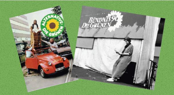Ein Bild mit 2 alten Plakaten der Partei. Links ein Rotes Auto und ein Mensch der winkt mit dem bunten Grünen Logo. Rechts ein Schwarz-weiß Bild einer Person die neben dem Logo an der Wand lehnt.